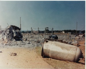 A view toward the complex after the explosion.
